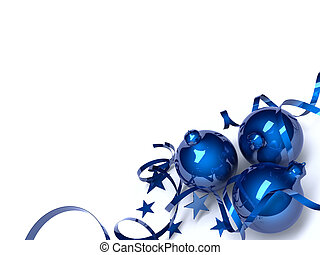 Three blue Christmas toys in an environment of stars and a tinsel on a white background