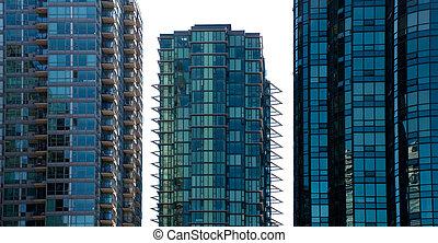 Three blue condo towers - Three all glass blue condo towers