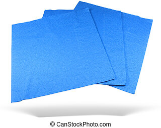 Three blue paper napkins with shadow isolated over white background