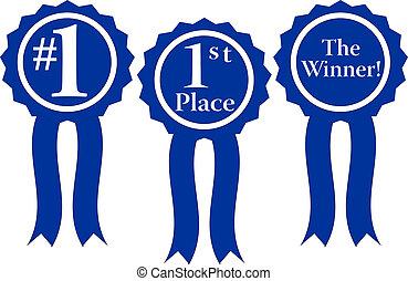 blue ribbon awards - three blue ribbon awards, #1, 1st Place...