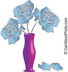 Three blue roses vector