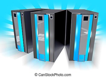 Three Blue Servers with Blue Background with Light Rays. 3D...