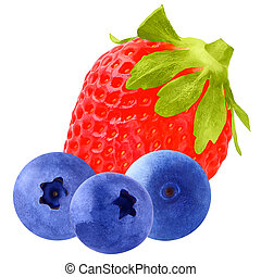 Three blueberries and one Strawberry isolated on white background with clipping path