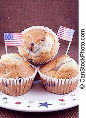 Three blueberry muffins
