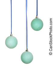 Three Blue/Emerald Christmas Balls