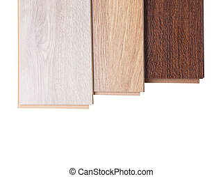 Three boards of laminate isolated on white - Three boards of...