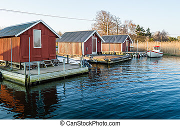 Three boathouses