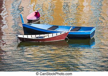 Three Boats in Harbor