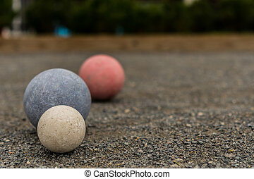 Three Bocce Balls with Copy Space