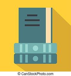 Three books icon, flat style