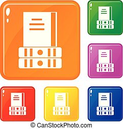 Three books icons set vector color