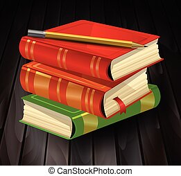 Three books with pencil