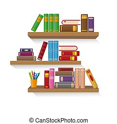 Three bookshelves with different colorful books.