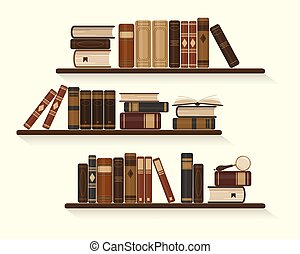 Three bookshelves with old or historical brown books.