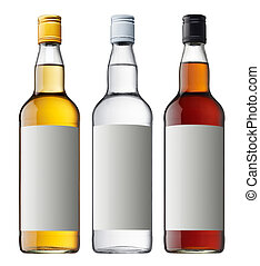three bottle of liqueur isolated on white