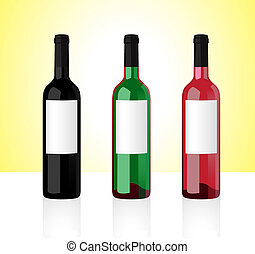 Three bottles of white, red and rose whine isolated on white background. Part 1.