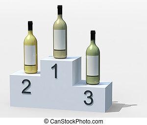 three bottles of white wine on the podium,
