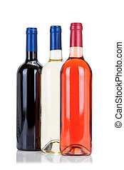 Three bottles of wine isolated on white background