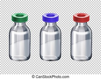 Three bottles with different color caps