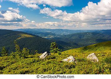 three boulders on grassy hillside of Runa mountain under the...