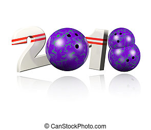 Three Bowling balls 2018 Design with a white Background