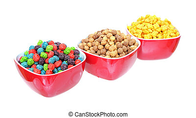 three bowls of cereal isolated on white