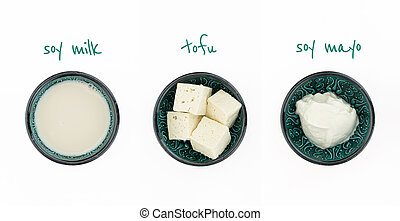 Three bowls with soy milk, tofu and soy mayo, isolated on white, with text.