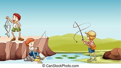 Three boys fishing at the river