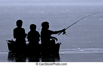 Three boys fishing from a boat in silhouette.