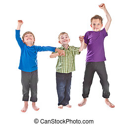 three boys having fun
