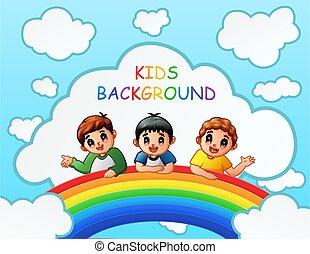 Three boys over the rainbow illustration
