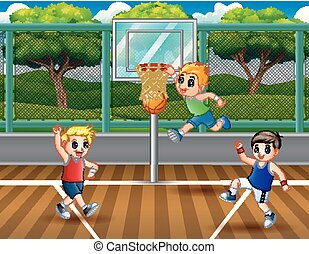 Three boys playing basketball at the court
