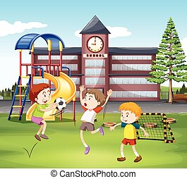 Three boys playing soccer in the field