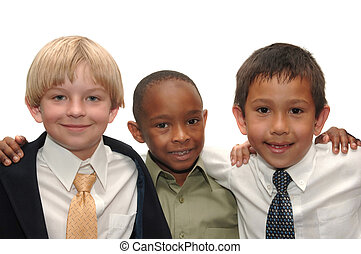 Three Boys - Three boys in business attire with arms on each...