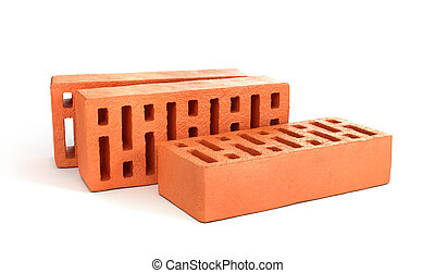 Three bricks isolated on a white background. 3d illustration