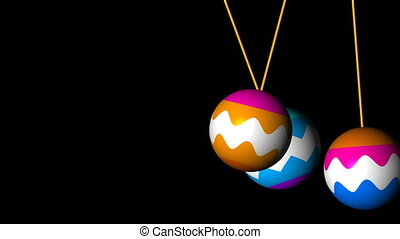 Three bright christmas balls swing in space, 3d render background, computer generated backdrop