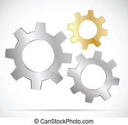Three bright gears