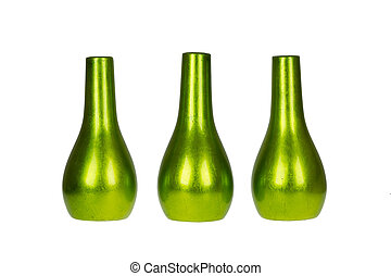 Three bright green vases isolated