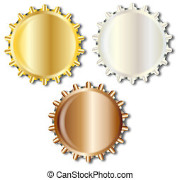 Three Bright Metal Bottle Caps - Typical metal glass bottle ...