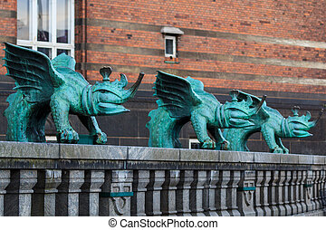 Three bronze dragons in the center of Copenhagen