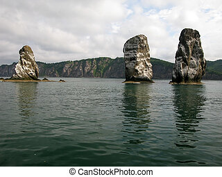 Three brother rocks, Avacha bay, Kamchatka peninsula Russia