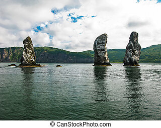 Three brother rocks, Avacha bay, Kamchatka peninsula Russia...