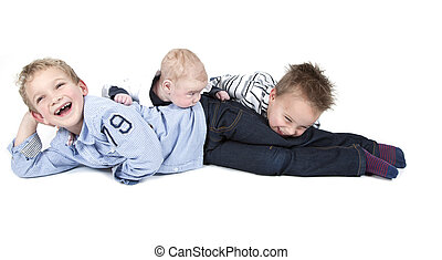 Three brothers having fun