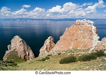 Three brothers rocks, Lake Baikal in Russia