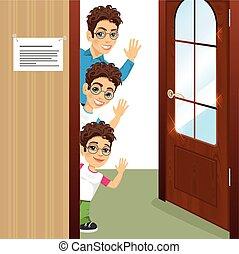 three brothers with glasses peeking of the door waving