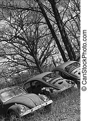 three buggies - three in a row, volkswagon