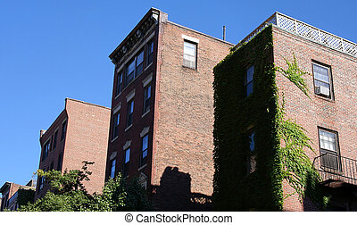 three buildings - three old high rise brick apartment ...
