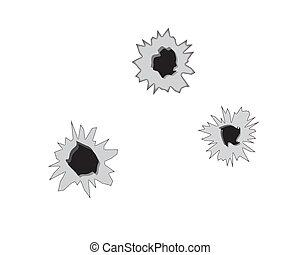 three bullet holes