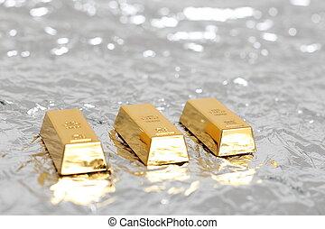 Bullion gold bar with copyspace