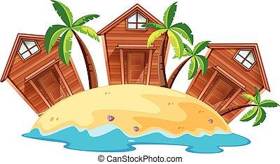 Three bungalows on island